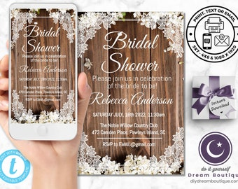 Rustic Wedding Invitations - Includes Mobile & Printable Versions