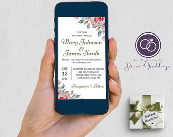 English Rose Garden Wedding Invitation For Mobile & Social Media 1080x1920