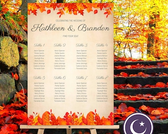 Fall Wedding Seating Chart - A1 & 30 x 20 Sizes - See Demos