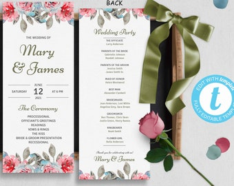 English Rose Garden Wedding Programs