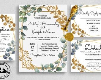 Eucalyptus and Gold Leaf Wedding Invitation & Insert Set