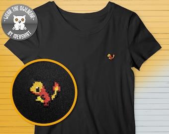 Pokemon Charmander embroidery t-shirt pixelart original Gameboy cute mini print 8-bit Nintendo sweet gift for Poke lover Pokemon Go fan