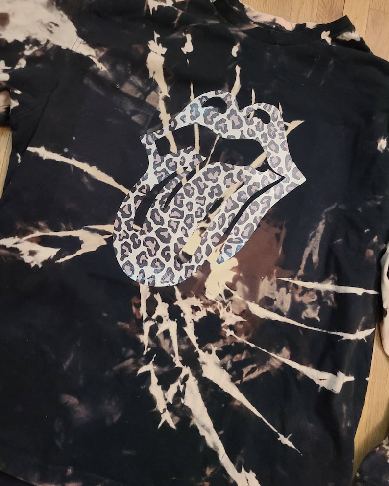 Bleach dyed rolling stones long sleeve shirt.