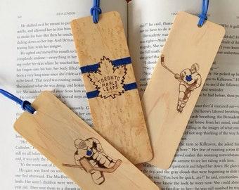 Hockey Bookmarks   Handmade wood bookmark   Hockey Goalie   Hockey Player   Toronto Maple Leafs   Montreal Canadians   Canadian Hockey