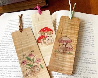 Hedgehog Bookmarks   Handmade Wood Bookmark   Cute Hedgehog Art   Cottage Core   Hedgehog and Mushroom   Hedgehog Gift   Toadstool  