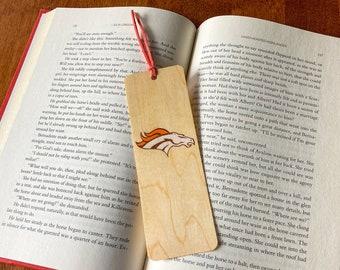 Denver Broncos Bookmark   Handmade Wood Bookmark    Football Bookmark   Broncos Fan   Denver Broncos Gift   Personalized Broncos  