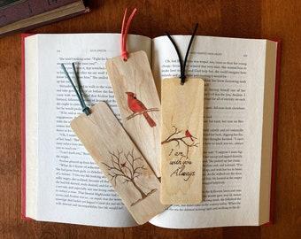 Cardinal Bird Bookmark   Handmade Wood Bookmark   Cardinal Art   Bird Art   Cardinal in Tree   Bird lover Gift   Personalized Bookmark  