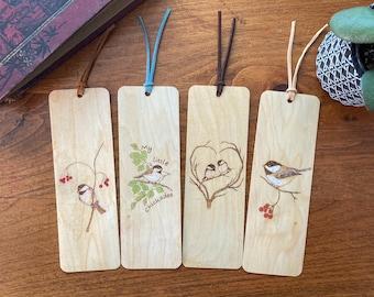 Chickadee Bird Bookmarks   Handmade Wood Bookmark   Chickadee Art   Bird Art   Chickadee on Branch   Bird lover Gift   Personalized Gift
