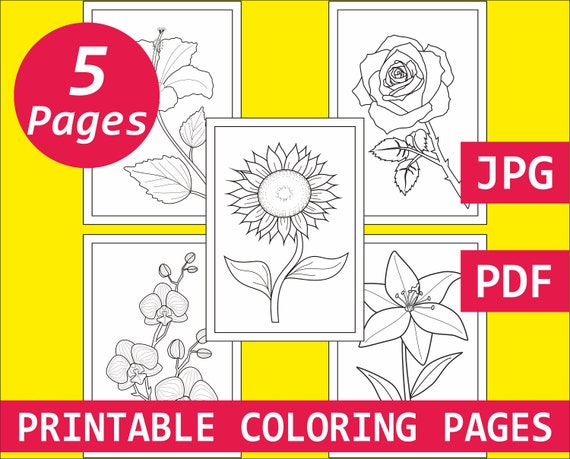 Colouring sheets for kids Flower coloring pages for adults