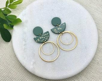 Handmade Polymer Clay Earrings  Daya  Essential Oil Diffuser Earring Sage Green Earrings  Wedding Earrings  Sage Green Wedding Earrings