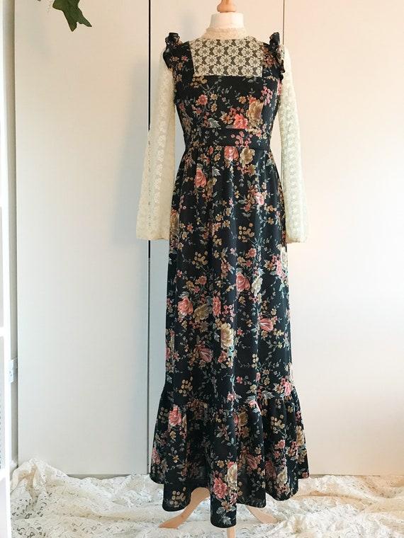 VINTAGE Black Floral Prairie Dress
