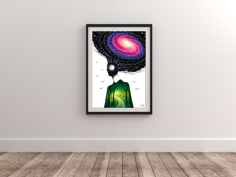 Art Surrealism Home Decor Wall Art Limited Edition Print Fine Art Print of my Original Oil Pastels Drawing Daughter Of Nature