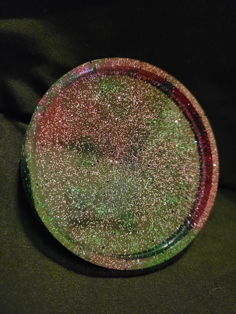 Pink and Clover Circle Resin Coaster