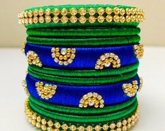 New Indian Pakistani Bridal Mehndi Mayun Sangeet Henna Bangles Set Silk Thread