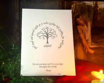 Rumi In Elvish for Tengwar Lovers: LIGHT, Hand-crafted Letterpress Cards