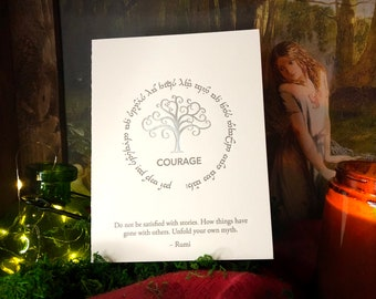 Rumi In Elvish for Tengwar Lovers: COURAGE, Hand-crafted Letterpress Cards
