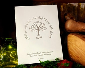 Rumi In Elvish for Tengwar Lovers: LOVE, Hand-crafted Letterpress Cards