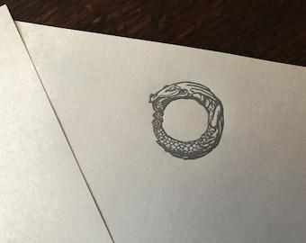 Letterpress Stationary: Arthur Rackham Fantasy Designs - Ouroboros