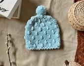 Hand Knit Light Blue Popcorn Stitch Pom Pom Baby Toddler Unisex Hat Beanie