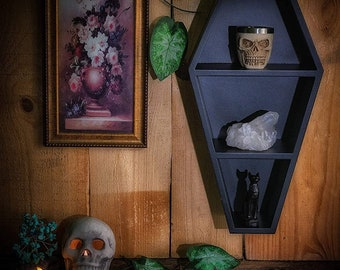 Coffin Shelf 14×7.5×3.8-Inch _ Gothic Decor for Wall or Tabletop _ Black Wall Hangings , Coffin Boxes