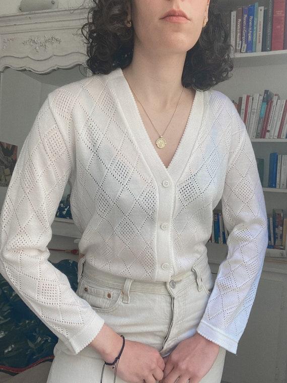 Vintage 1950s White Scalloped Cardigan