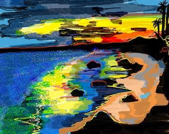 Limited Edition / Hand signed Giclée Print / Wall art / Landscape art / home décor / surf art / wall décor - Ventura, CA