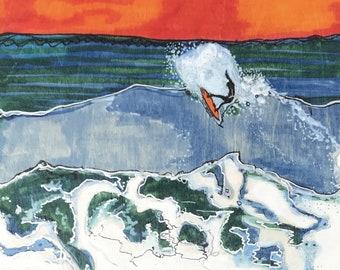 Downloadable wall art / Printable Fine Art / Fine Self Print Poster  / Wall Décor / Print At Home /Surf art - Last Wave, Ventura, California
