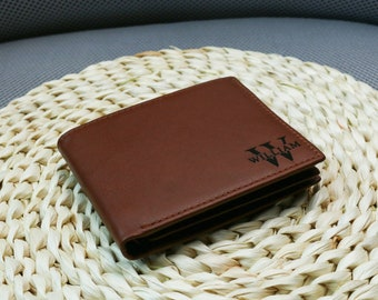 Personalised Mens Wallet,Genuine Soft Brown red Leather Wallet,Personalized Birthday Gift for Boyfriend,Husband,Dad,Anniversary Gift for Him