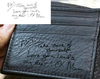 Handwriting Wallet   Leather Wallet For Men   Personalized Wallet Gifts   Handwriting Gift For Him   Engraved Wallet