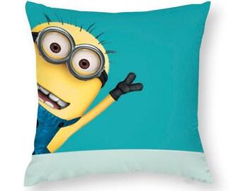 Toddler Pillow Minions MINION eyes on BLUE  Small Pillow Case /& Travel