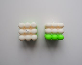 GREEN NEON | 100% Vegan Neon Bubble Cube Candle | sustainable candles made of rapeseed wax | Germany Dip Dye Candle