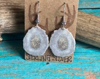 Sterling Silver and Real Deer Antler Earrings