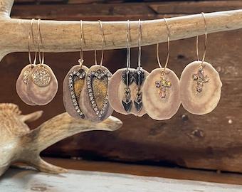 Real Antler Earrings, Hoop Style, With Charm