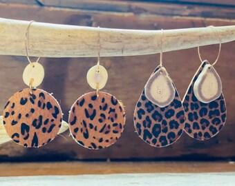 Cheetah Printed Leather and Real Antler Earrings