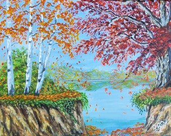 Autumn landscape painting , fall acrylic painting on canvas , birch trees , forest ,woods , original nature painting .