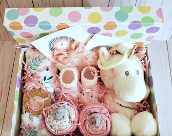 Baby girl gift box, baby girl shower gift basket, swaddle blanket and bows, cupcake onesies, personalized,  memory box, FREE Shipping