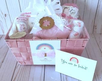 Baby boy shower basket, baby girl basket, gender neutral box, onesies, bibs, towel, swaddle blanket, toy, Corporate baby basket, FREE Ship