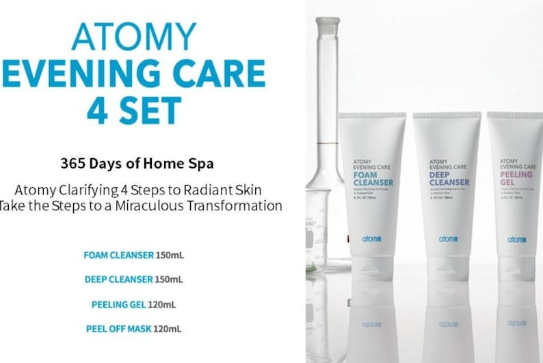 Atomy Evening Care 4 Set Foam Deep Cleanser Peeling Mask Skin image 0