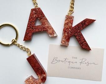 Resin Copper Letter Keyring
