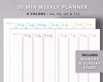 Printable Weekly Planner Half Hour 2 Pages Pdf Undated Daily Monthly Schedule Digital Download Productivity US A4 A5 Planner Inserts