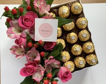 Roses & Ferraro Rocher Luxury Gift Box - Chocolate Gifts - Fresh Flowers