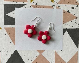 Rectangular Shape Daisy Earrings with a Red Backdrop Red Flower Earrings Artisan Copper F 32 Daisy Flower Drop Earrings