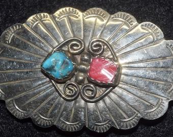Antique belt buckle with Tibetan turquoise inlay