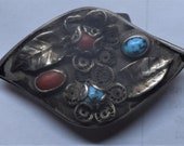 Vintage Navajo belt buckle with turquoise and Coral. 1950s vintage.