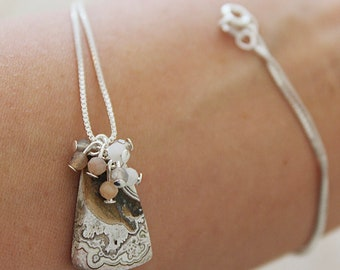 OOAK Handcrafted Artisan Jewelry Dendritic Agate /& Rustic Diamond Sterling Necklace