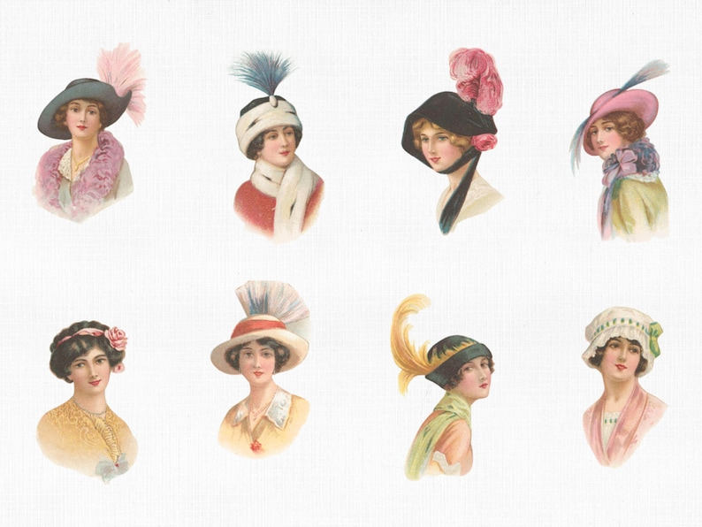 Ephemera Print Ephemera Clipart Women in Hats Set #1 SVG Files for Cricut Digital Download Scrapbook Women Art Prints Vector PNG JPG