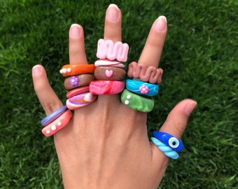 Blob Ring Handmade SUMMER HOME Polymer Clay Trendy Costume Jewelry Chunky Clay Plastic Statement Ring Gift for Her 1 of 1