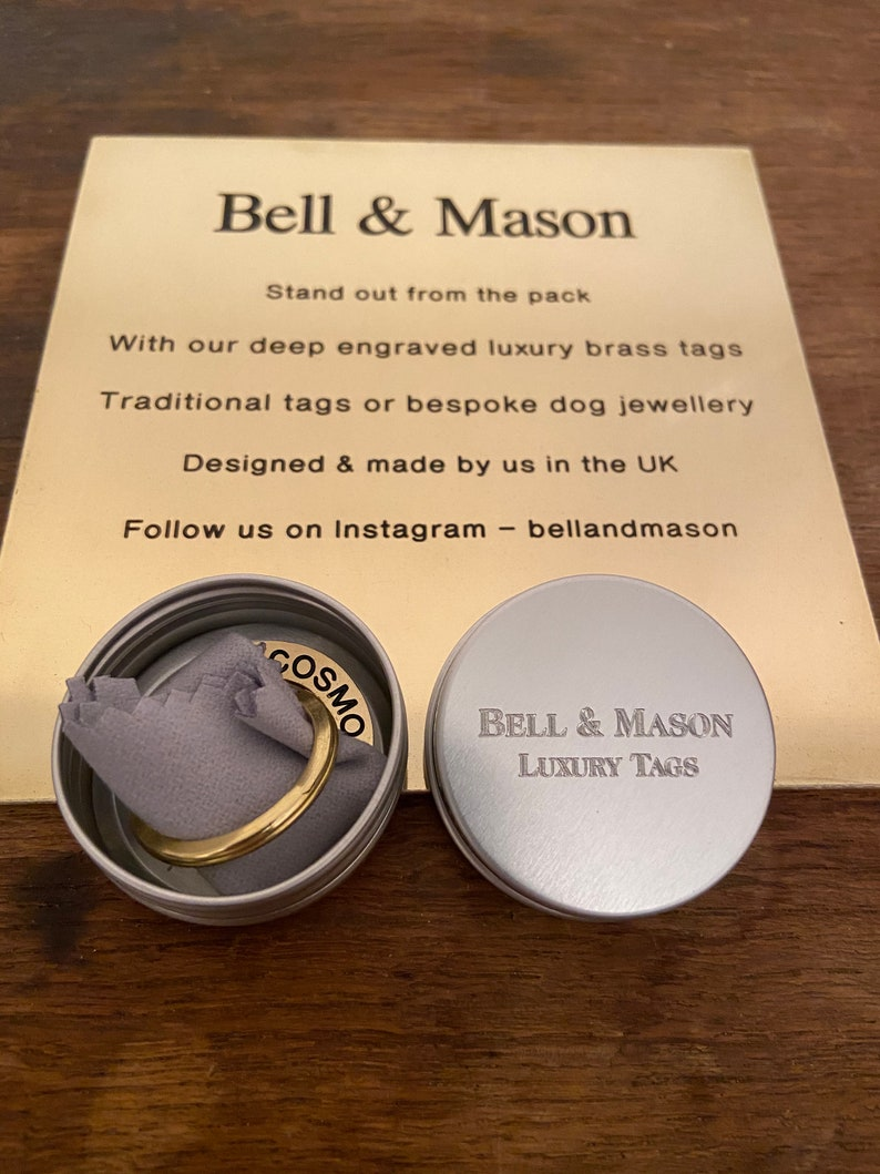 This tags engraving is unfilled Designed /& made by us in the UK Medium deep engraved traditional brass circle tag 25mm