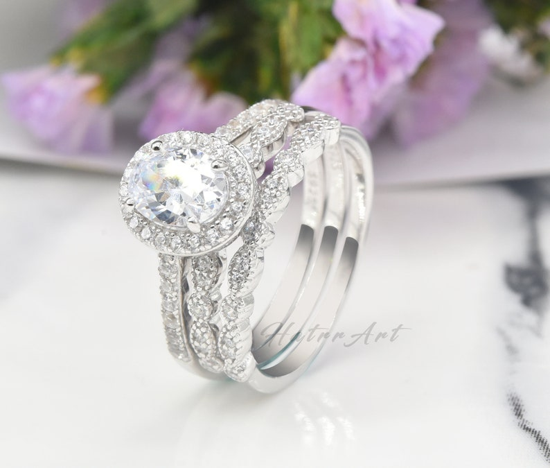 Wedding Ring Set 3PCS Rings Sliver Ring Oval 6x8mm Simulated Diamond Engagement Ring Promise Bridal Ring Set Birthday Gift Stack Ring
