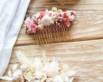 Hair Comb Bride Wedding Dried Flowers